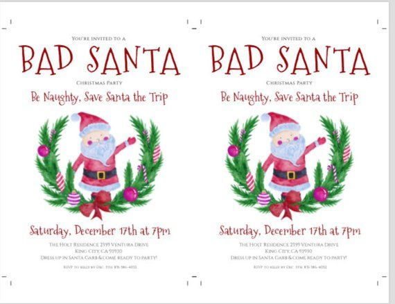 Christmas Party Invitation Template, Bad Santa Party Invite, Instant