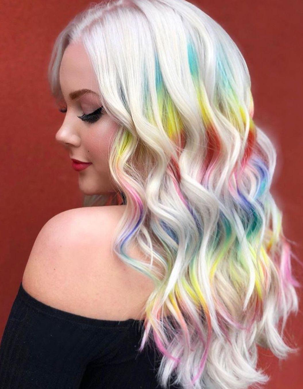 Rainbow Hair Platinum Blonde Hair Platinum Blonde Hair Color Hair Inspiration Color