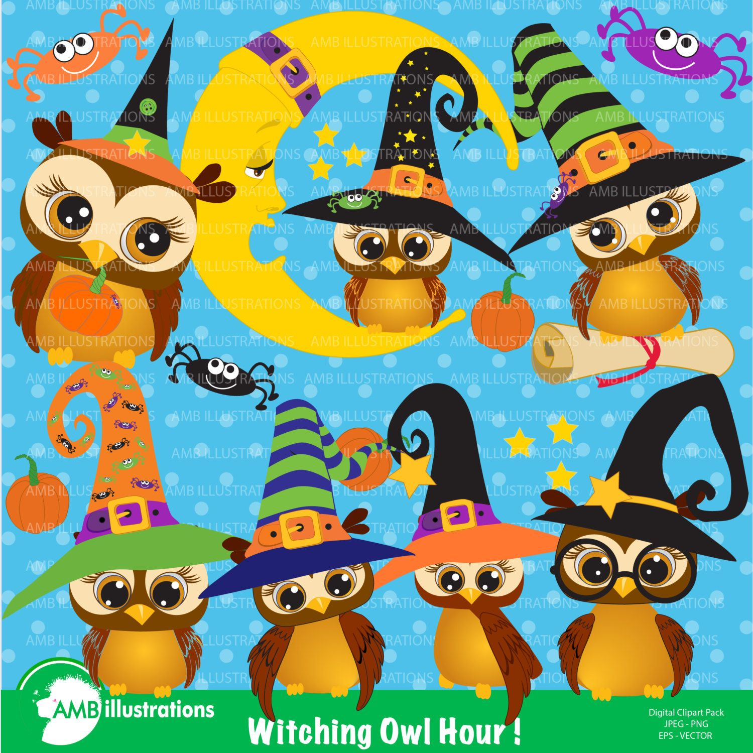 halloween clipart, witch owls clipart, owls clipart, owl and moon