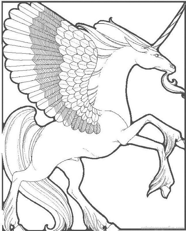 Detailed Unicorn - Colouring pages. | Unicorn coloring ...