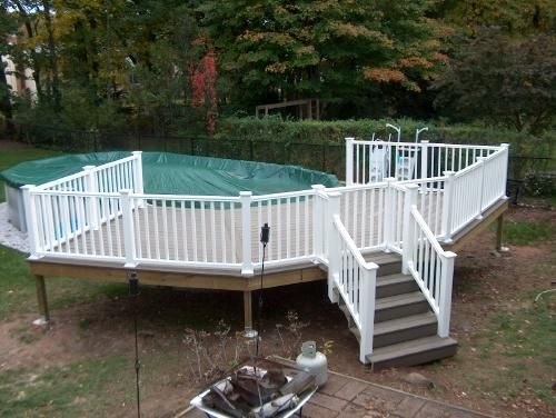 above ground pool deck semi wrap around with composite decking