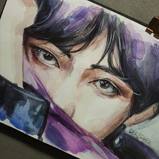 "Photo of kris on Instagram: ""#tae #taehyung #v #vart #vante #bts #btsart #bangtan #bangtansonyeondan #beyondthescene #kimtaehyung #army #watercolor #art #traditional…"""