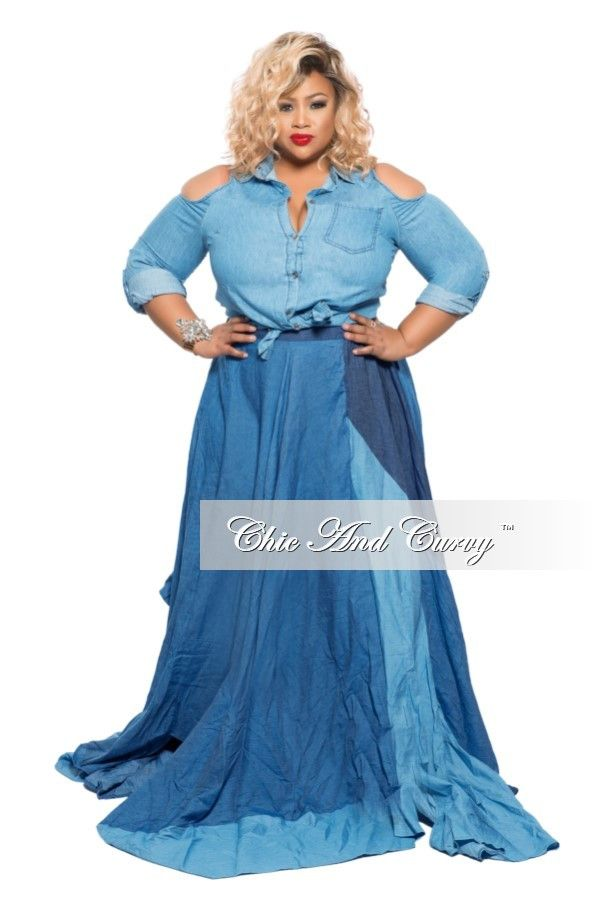 c9ff1ef820fa3 Plus Size Floor Length Flared Skirt in Dark Light Denim – Chic And Curvy