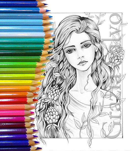 Woman Of Flowers 3 New Printable Colouring Page Girl Flowers