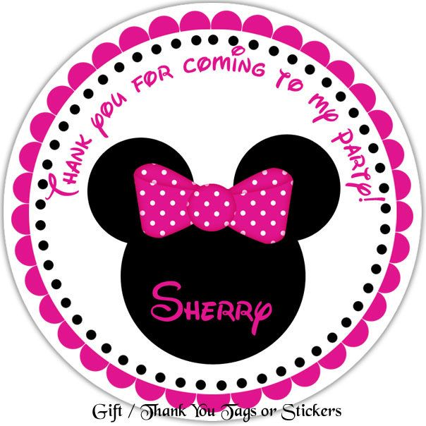 Minnie mouse head personalized stickers party by sharenmoments