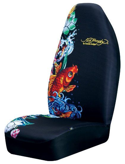 2 Ed Hardy Christian Audigier Koi Fish Car Truck Front Seat Covers Pair
