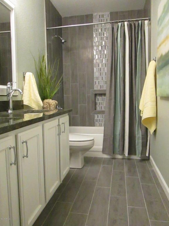 BATHROOM REMODEL Transitional Full Bathroom With Flat Panel Cabinets Stafford Shower Curtain Simple Granite High Ceiling Slate Tile Floors