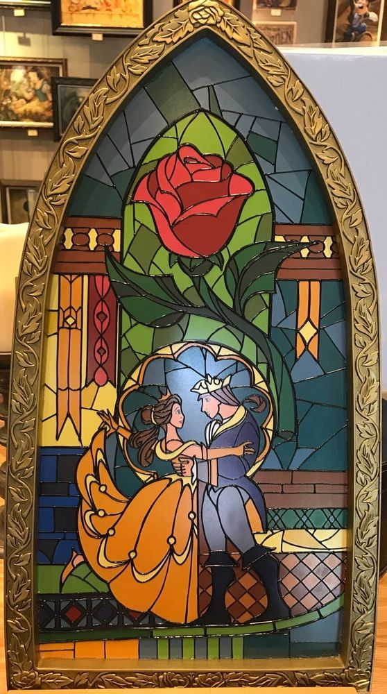Disney Parks Exclusive Beauty And The Beast Stained Glass Window