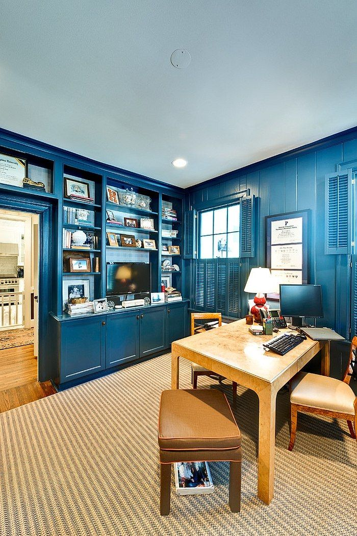 10 Eclectic Home Office Ideas in Cheerful Blue   Homey   Pinterest on unique home office ideas, grey home office ideas, floating wall shelves for home office ideas, antique home office ideas, corner home office ideas, rustic home office ideas, european home office ideas, small home office ideas, brilliant home office ideas, masculine home office ideas, his and hers home office ideas, houzz home office ideas, elegant office decorating ideas, attic home office ideas, home office dining room ideas, contemporary home office ideas, master bedroom office ideas, home office color ideas, ikea home office ideas, cozy home office ideas,