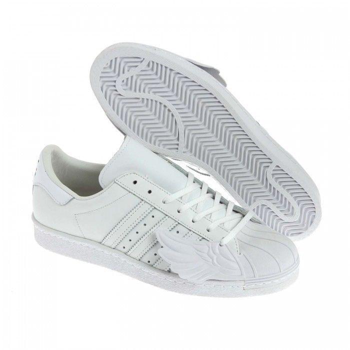 adidas originali jeremy scott b26282 superstar scarpe di pelle bianca