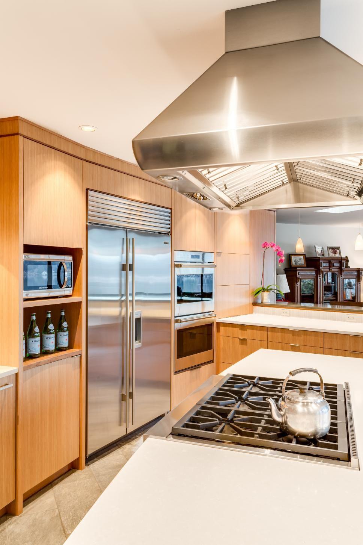 Midcentury Modern Kitchen With Stainless Steel Appliances White