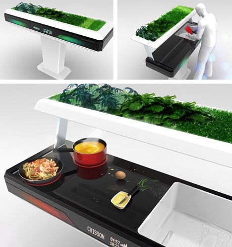 This unique kitchen concept by Antoine Lebrun is much more than meets the eye. When closed, it looks like a kitchen planter with lots of nice greenery growing on top. But when it's open, it reveals a workspace, cooking surface, and sink. This kitchen comes with the coolest secret ever: those plants on top provide natural soap to clean the workspace, sink, and dishes whenever the top is closed. Don't plan on owning it anytime soon, though.