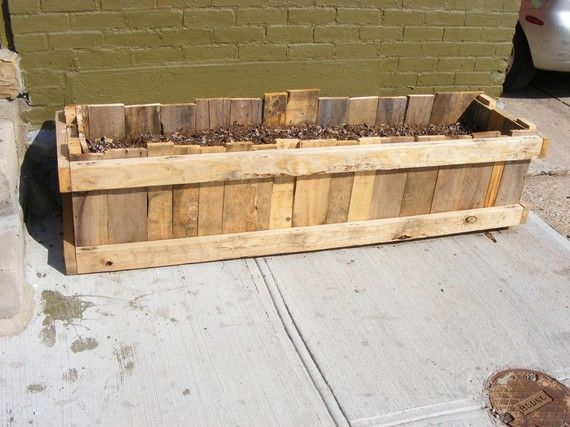 Upcycled pallet skid garden planter box by brittford for How to make a planter box out of pallets