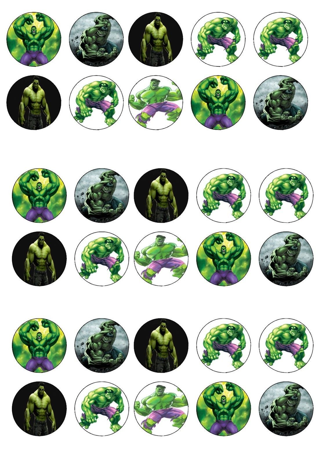Incredible hulk edible rice wafer paper cup cake topper x30 Wafer