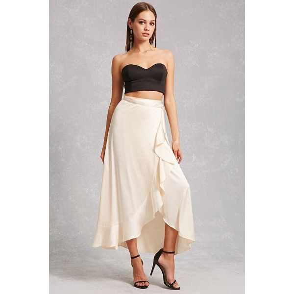8ea5a3961 Forever21 Dark Pink High-Low Skirt ($33) ❤ liked on Polyvore featuring  skirts, champagne, flounce skirt, hi low skirt, off white skirt, high low  skirt and ...