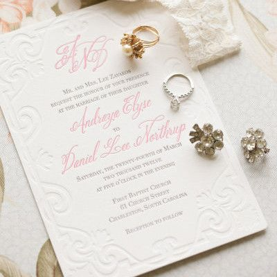 letterpress white + pink invitation by Scotti Cline Designs