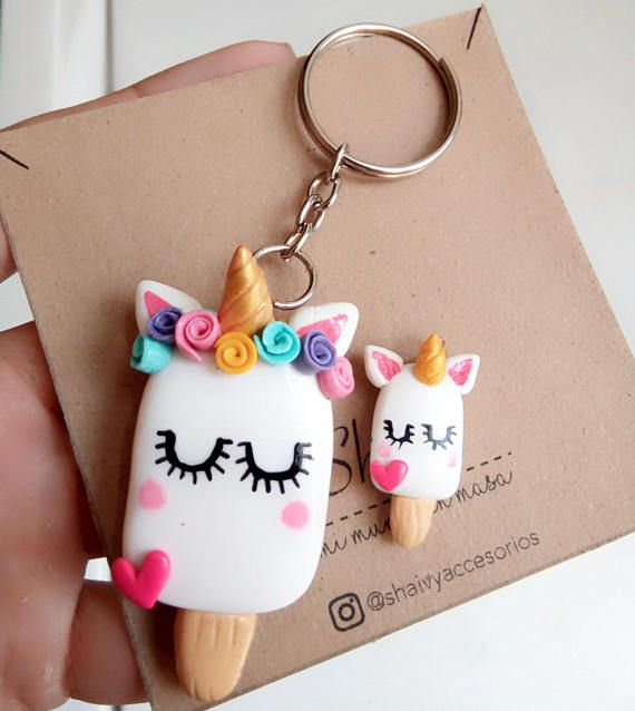 Keychain Unicorn Unicorn Shaped Ice Cream With Heart And Flowers Ice Cream Clay Keychain Polymer Clay Crafts Polymer Clay Charms
