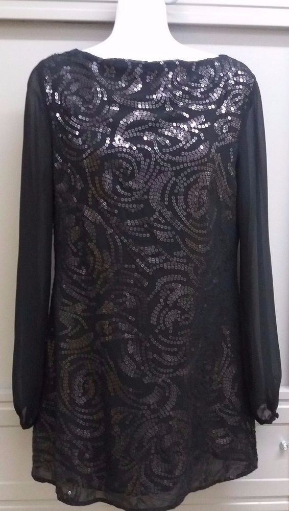 634a3fe5d9 Monsoon Ladies Beautiful Black Sequin Top Size 8