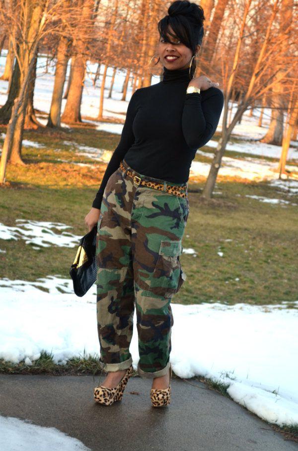 Black Turtleneck Fatigue Pants Animal Print Heels Cute