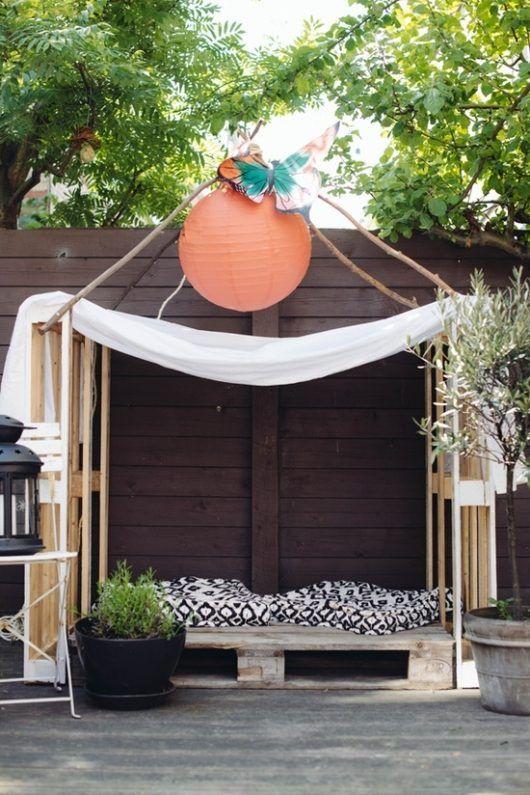 Gartenlaube Dekoration Ideen Möbel Holzpaletten