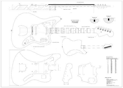 full scale plans for the fender jaguar electric guitar