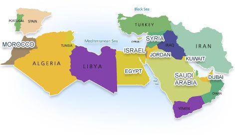 portugal spain morroco algeria libya egypt israel saudi arabia