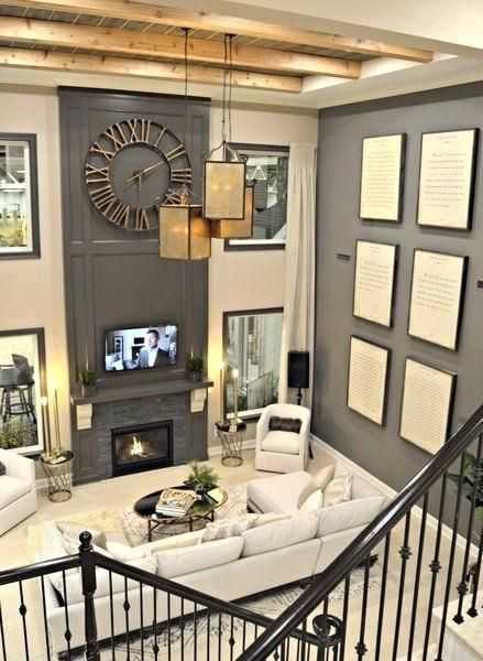 Two Story Fireplace Wall Idwebs Info Tall Ceiling Living Room High Ceiling Living Room Family Room Design