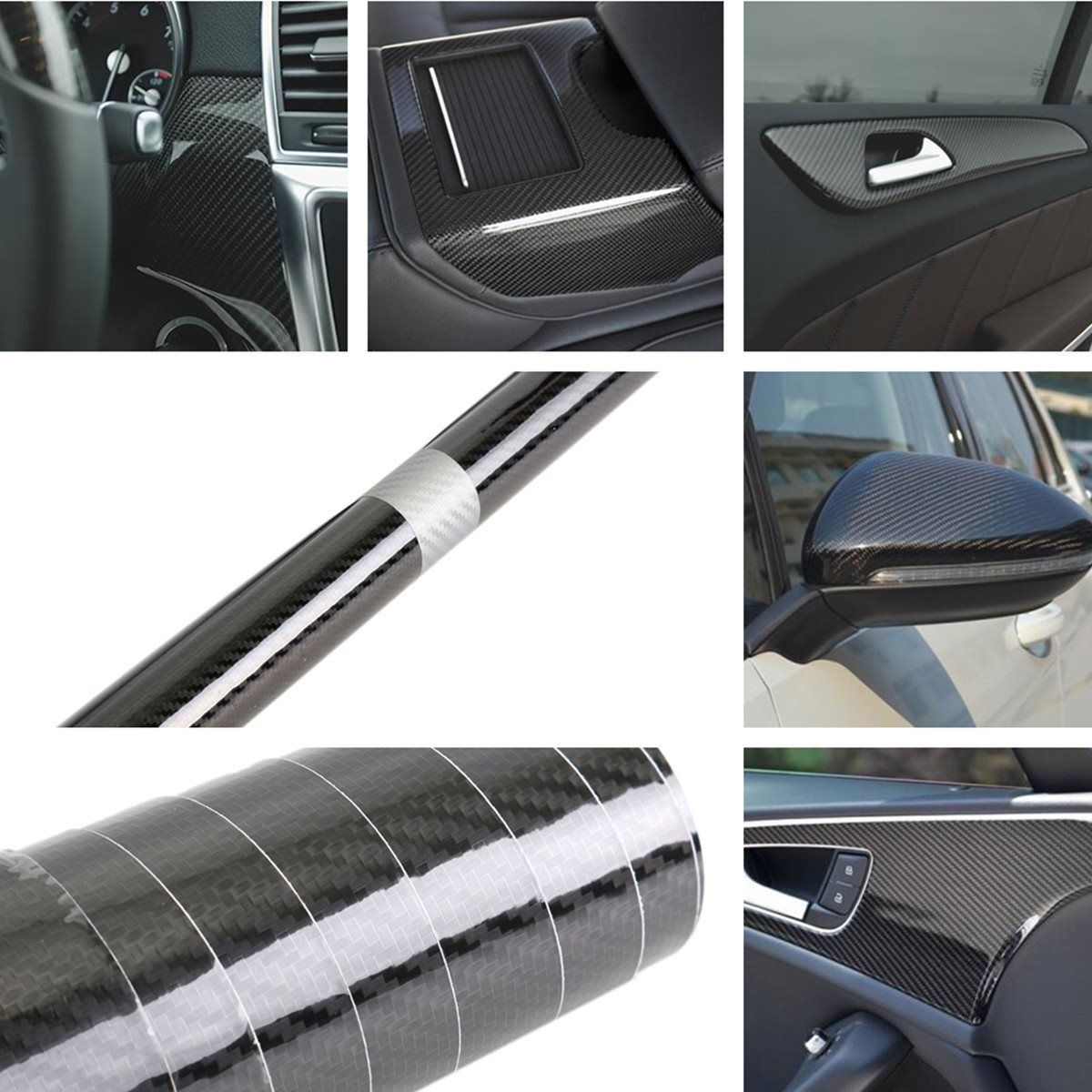 hoogglans pvc 5d carbon vinyl folie film auto wrap roll sticker decal zwart 35150 cm interieur accessoires auto styling