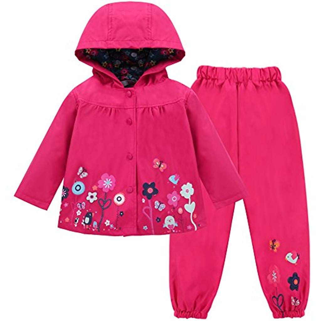 Photo of LZH Mädchen Kinder Regenjacke mit Kapuze Regenhose 2pcs Bekleidungsset