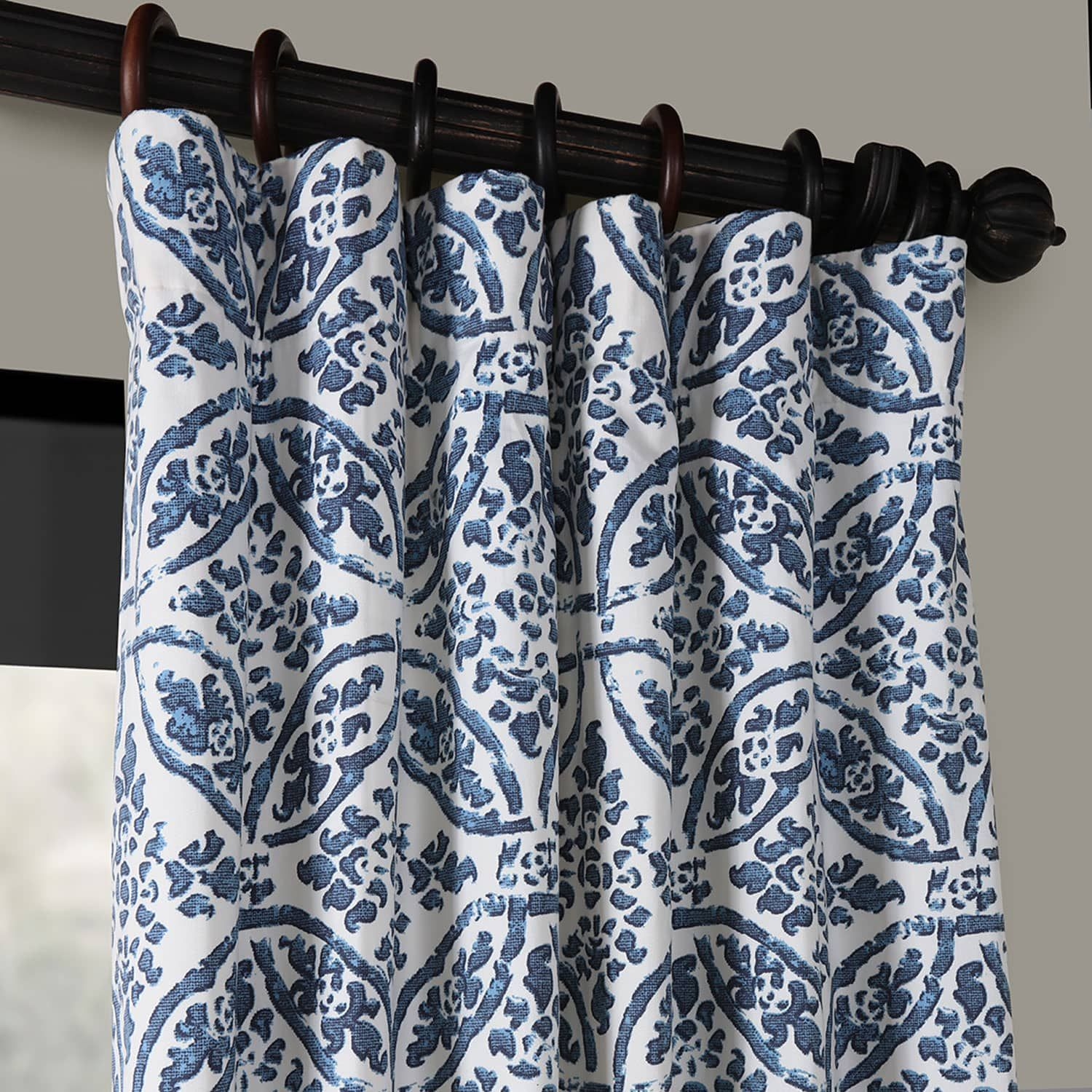 Catalina Blue Printed Cotton Twill Curtain Blue Pattern Curtains