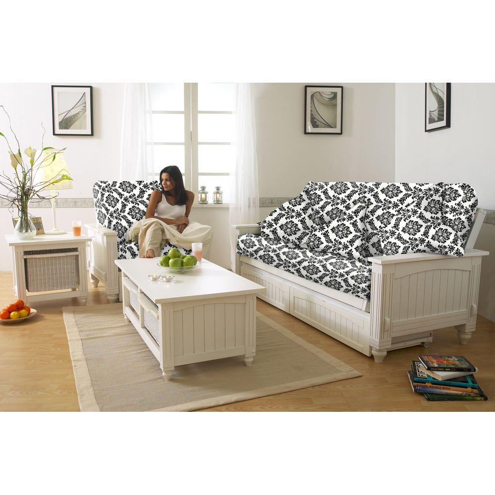 Cottage Solid Wood Futon By Lifestyle Solutions Hardwood Frame Storage Drawers