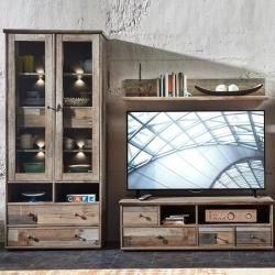 Vintage style furniture -  Media wall unit Driftwood brown vintage Branson-36 showcase with Led wall shelf & lowboard W x H x  - #Diyfurnitureminimalist #Diyfurniturerecycle #Furniture #Style #Vintage