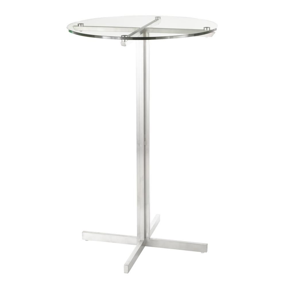 Lumisource Fuji Round Bar Table With Clear Tempered Gl