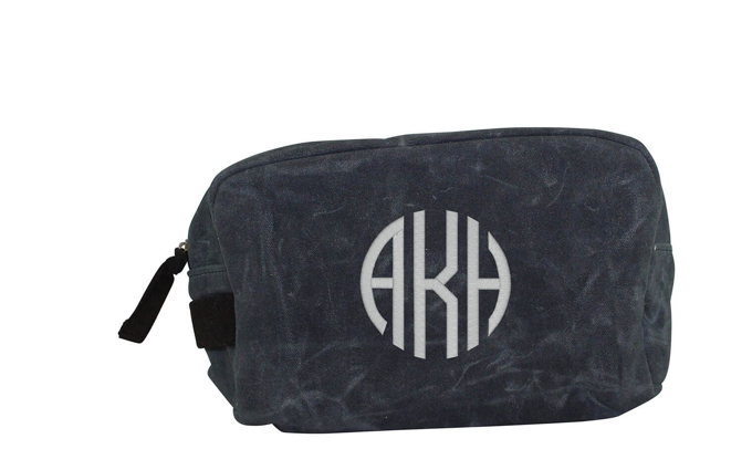 beb8819ae056 Personalized Toiletry Bag- waxed Canvas Dopp kit with Freee Monogramming