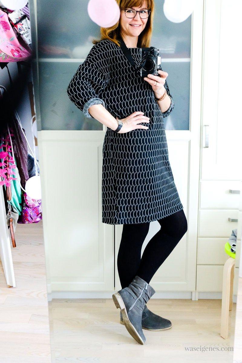 f259327b3d1855 DIY Strickkleid selber nähen | Kleid aus Strick Jacquard | Schnittmuster  und schwarz weißer Jacquard von