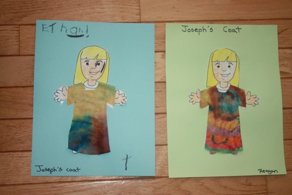 Joseph\'s coat craft - made with a coffee filter and washable markers ...