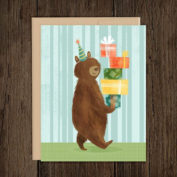 Happy birthday bear greeting card blank inside card size 425 x 55 happy birthday bear greeting card bookmarktalkfo Image collections