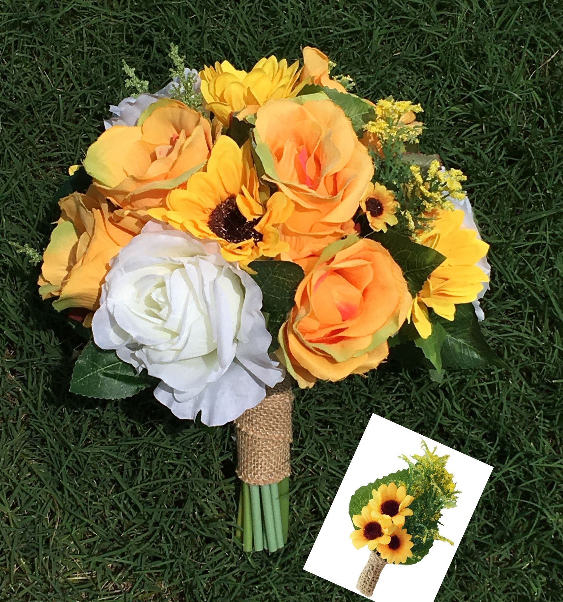 Wedding bouquets of sunflowers  Sunflower Bouquet SEt  Boutonnieres Sunflowers and Prom flowers
