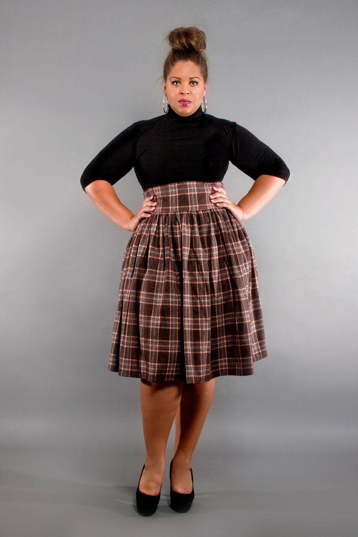 4f7c4edc5c1 JIBRI Plus Size High Waist Flare Skirt (Earthy Plaid) in 2019