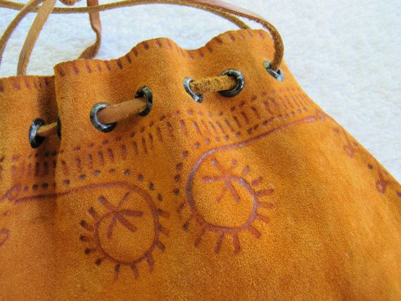 Small deerskin pouch / hand decorated by SandrasCornerStore