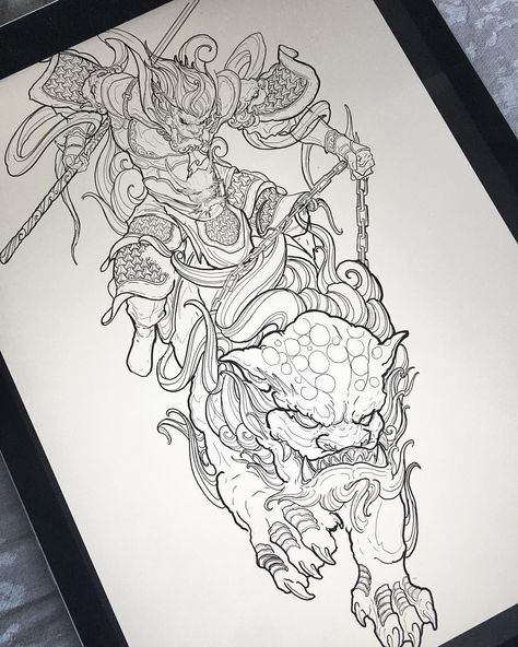 Work in progress monkey king riding foo dog leg sleeve irezumicollective vancouvertattoo also best images hanuman character design rh pinterest