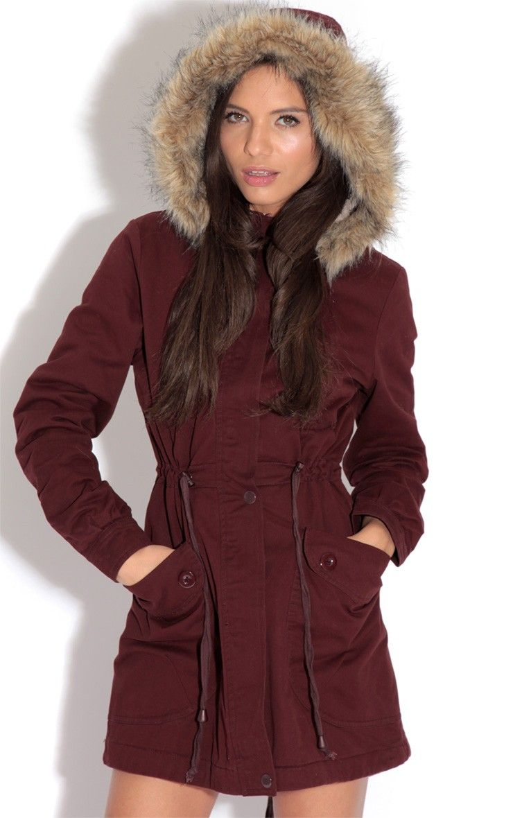 Saskia Burgundy Shearling Parka Coat With Fur Hood | Wishlist ...