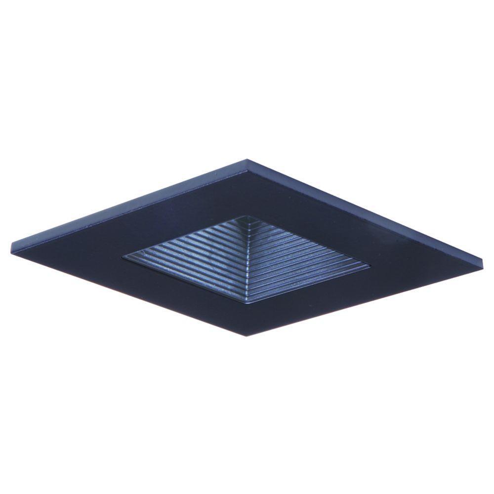 Black recessed lighting square shower trim with regresses lens and black baffle