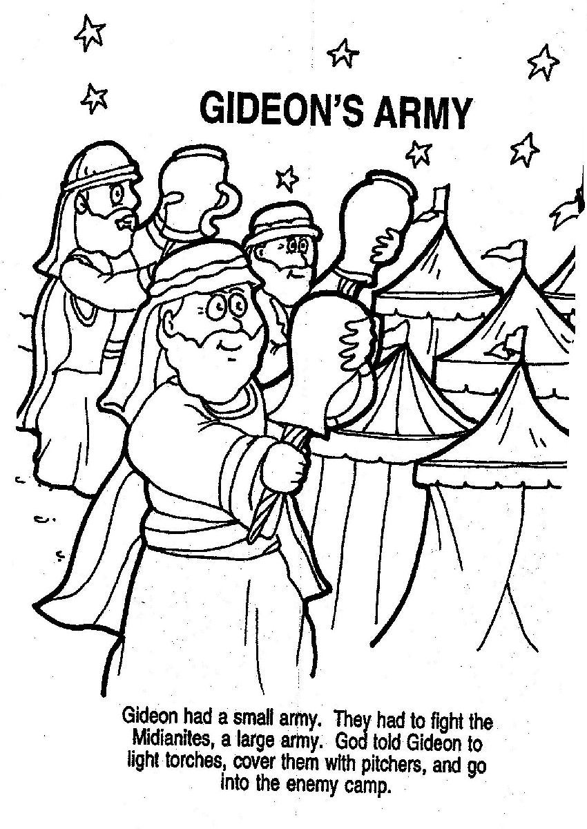 Bible Story Gideon Coloring Pages Bible Story Coloring Pages Of