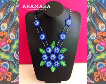Mexican Huichol Beaded Green Flower Necklace CFM-0038 by Aramara