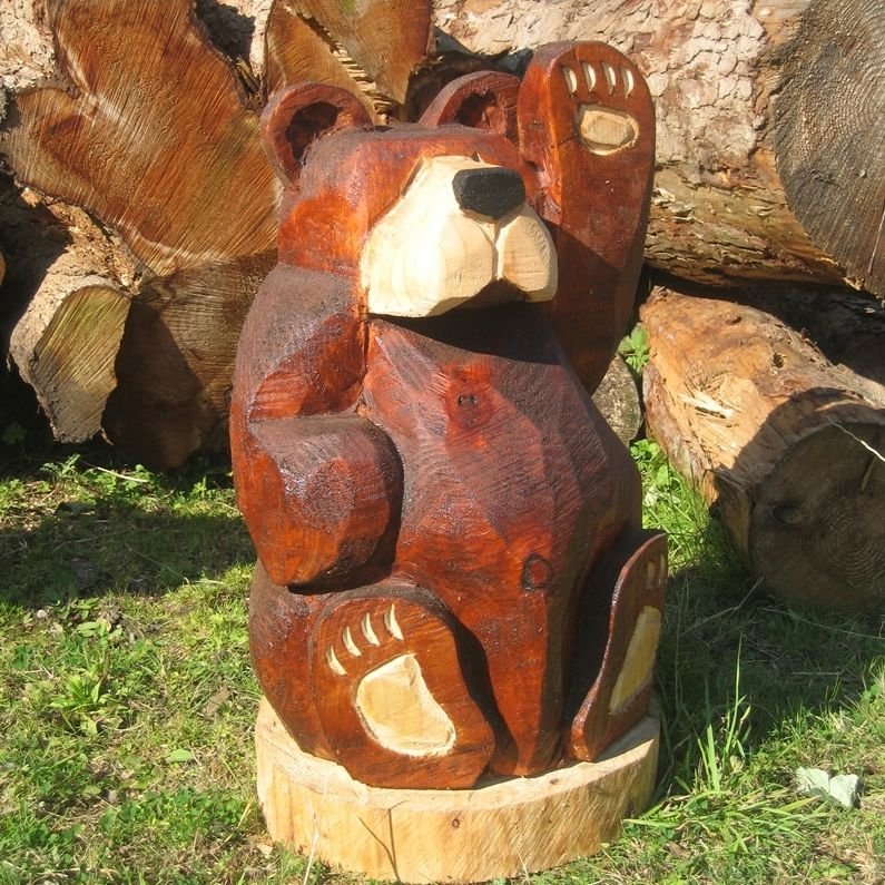 Wood carved animals norwich camping rustic is