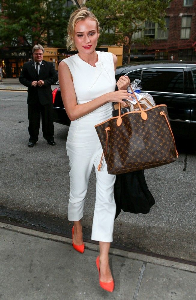 3f21cd50dab Diane Kruger in Roland Mouret Irina Shayk, Louis Vuitton Neverfull Monogram,  Louis Vuitton Artsy