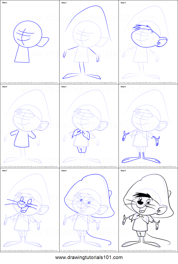 How to Draw Speedy Gonzales from Animaniacs Printable Drawing Sheet ...