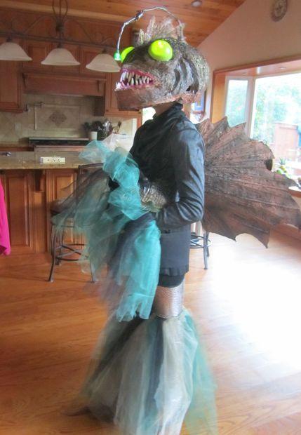 Amazing Homemade Angler Fish Costumer for My 11-yr-old Daugher - scary homemade halloween costume ideas