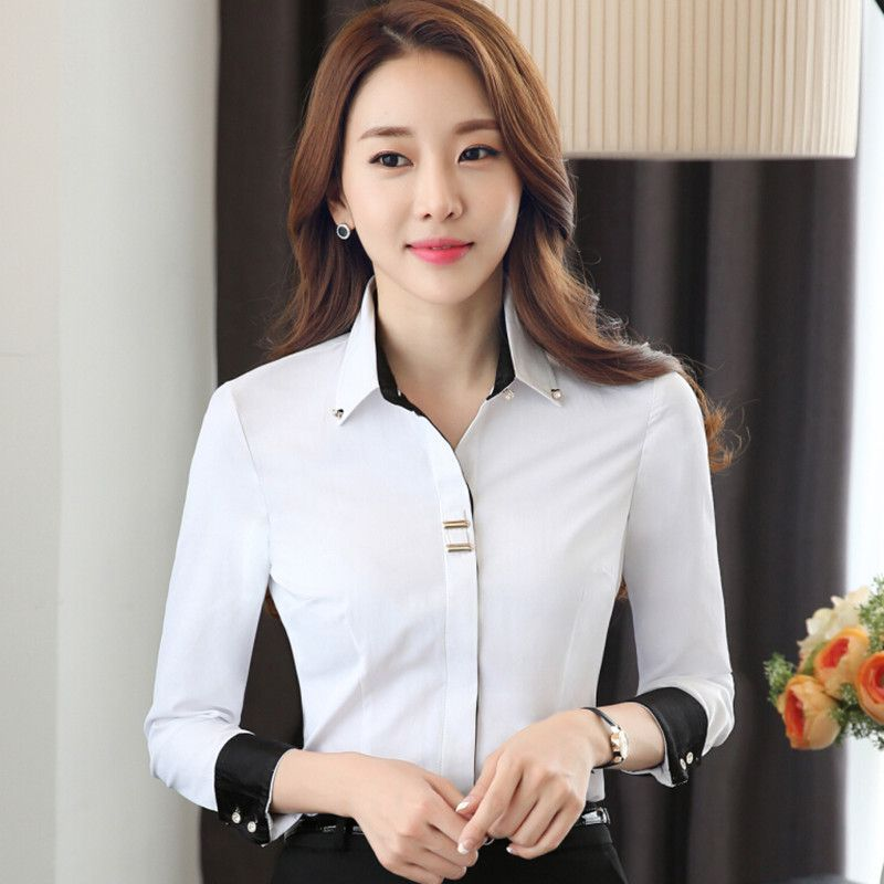 2f9ccda602b3 Ropa de moda OL de las mujeres camisa de manga larga negro blanco ...